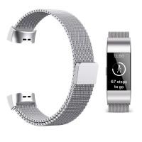 """Babacom Bracelet Fitbit Charge 3, Bande en Maille Milanaise d'Acier Inoxydable pour Fitbit Charge 3 Suivi d'Activité Forme et Sport pour Femme Homme 5.5""""-8.5"""" (S, Argenté)"""
